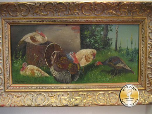 Ölgemälde A. Schönian Münchner Schule 1880 Ölgemälde Kunst Truthähne