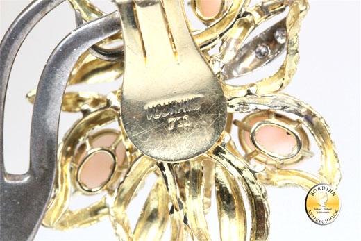 Ohrclip 18 Karat Gold Diamanten und Koralle Ohrring Ohrschmuck Damen