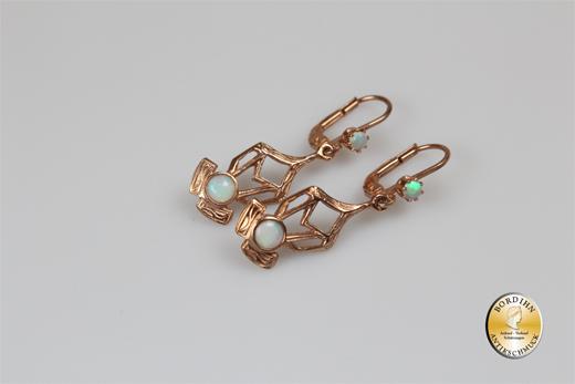 Ohrringe Silber vergoldet Jugendstil Retro Opal Ohrhänger Ohrschmuck