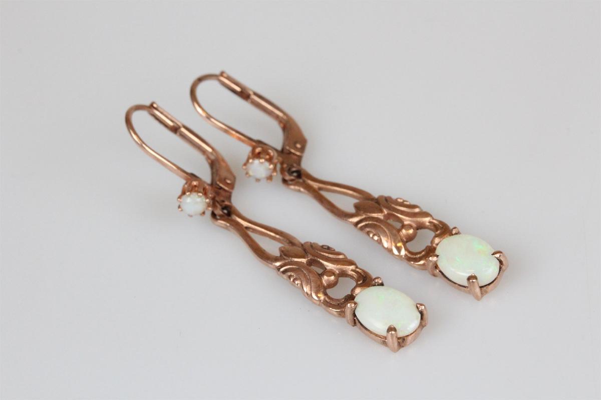 Ohrringe Silber vergoldet Jugenstil retro rosa Opal Ohrhänger Schmuck