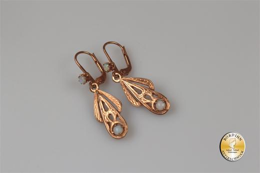Ohrringe; Silber/verg., Jugenstil retro, Opal