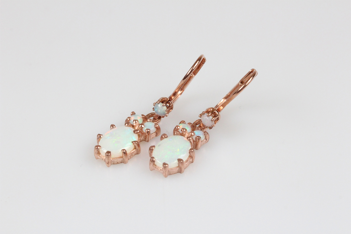 Ohrringe Silber verg. Jugenstil retro Opal Schmuck Ohrhänger Damen Geschenk