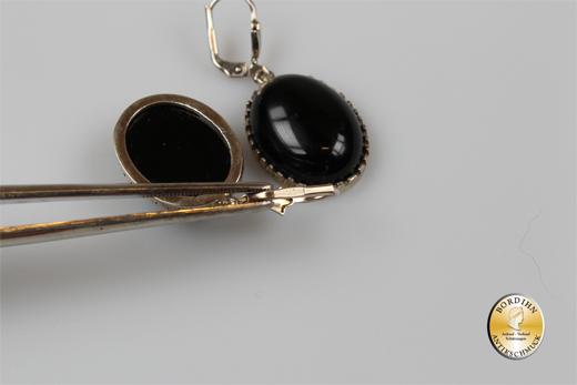 Ohrringe Silber vergoldet Jugendstil Retro Onyx Ohrhänger Ohrschmuck