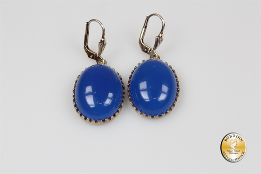 Ohrringe; Silber/verg., Jugenstil retro, Achat blau