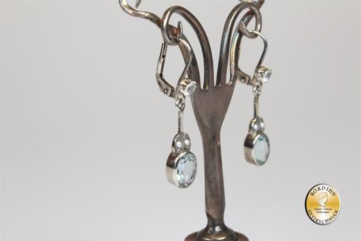 Ohrringe Silber vergoldet Jugendstil Retro Aquamarin Ohrhänger Schmuck