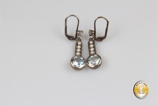 Ohrringe Silber verg Artdeco retro Aquamarin Perlchen Ohrhänger Damen