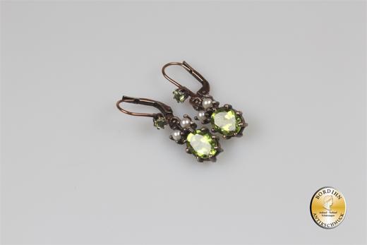 Ohrringe Silber verg Jugendstil Retro Peridot Perlchen Ohrhänger Damen