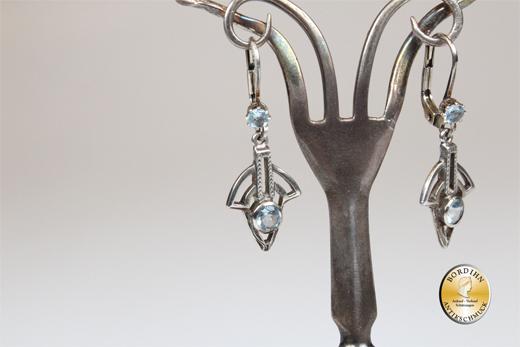 Ohrringe; Silber/verg., Jugenstil retro, Aquamarin