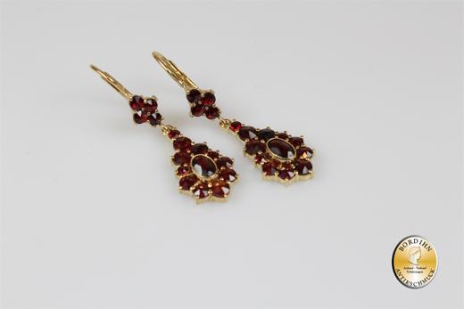 Ohrringe 925 Sterlingsilber vergoldet Granat Ohrhänger Bouton Schmuck