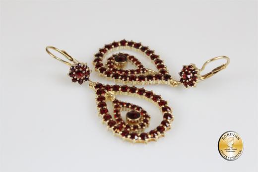 Ohrringe Sterlingsilber vergoldet Granat Verschluss 375 Gold Ohrhänger Schmuck