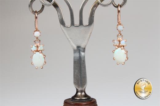 Ohrringe Silber vergoldet Opal Gründerzeit Retro Ohrhänger Schmuck