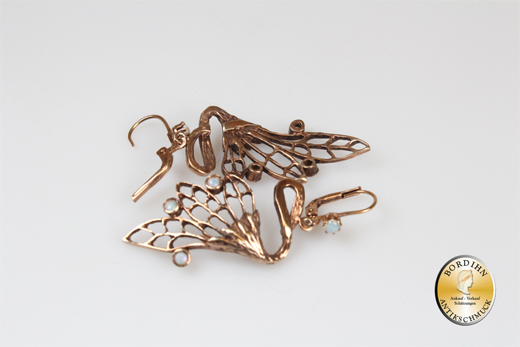 Ohrring Silber vergoldet Opal Jugendstil Retro Ohrhänger Schmuck Damen