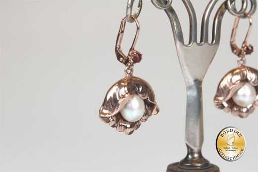 Ohrringe Silber vergoldet Perle Granat Jugendstil Retro Ohrschmuck neu