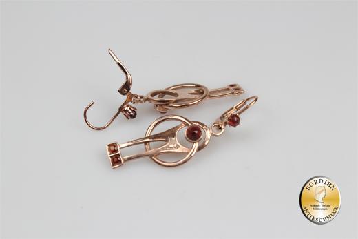 Ohrringe Silber vergoldet Granat Artdeco Retro Ohrhänger Schmuck Damen