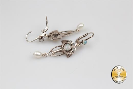 Ohrringe Sterling Silber Opal Süßwasser Perle Jugendstil Retro Schmuck
