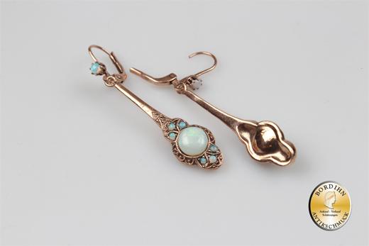 Ohrringe 925 Silber vergoldet Opal Gründerzeit Retro Ohrhänger Schmuck