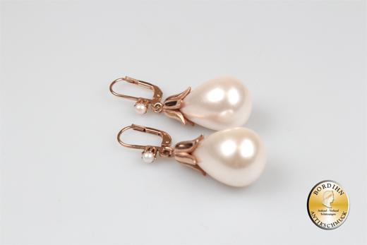 Ohrringe Silber vergoldet Jugendstil Retro Perle Glocke Ohrhänger