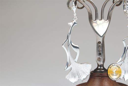 Ohrringe; 925 Sterlingsilber, Jugendstil retro, Ginkgo Blatt