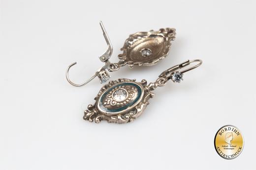 Ohrringe; Sterlingsilber, Aquamarin, emailliert, Biedermeier retro