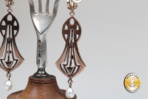 Ohrringe Silber 925 vergoldet Opal Perlen Ohrhänger Gründerzeit Retro