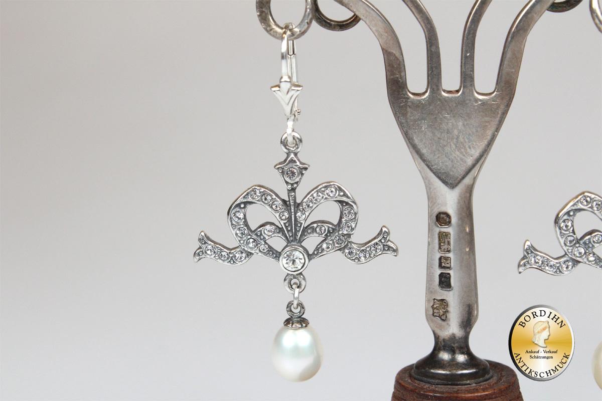 Ohrringe 925 Sterlingsilber Perlen Strass Ohrhänger Ohrschmuck Damen