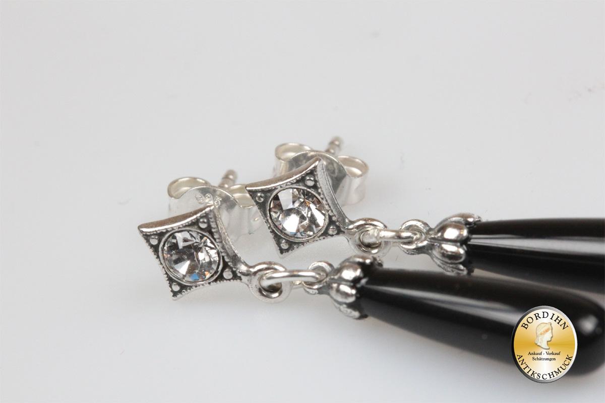 Ohrring Sterlingsilber Onyx Keulen Ohrhänger Ohrschmuck Damen Geschenk
