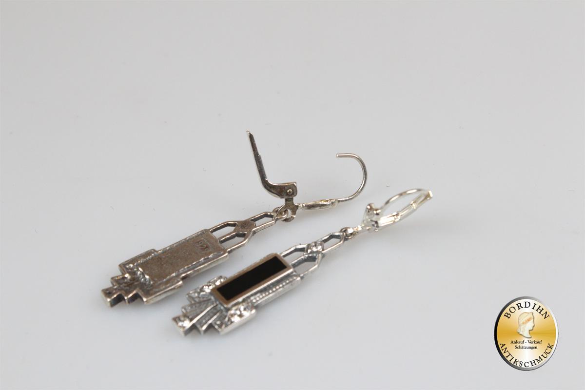 Ohrringe Sterlingsilber Onyx Strass Schmuck Ohrhänger Damen Geschenk