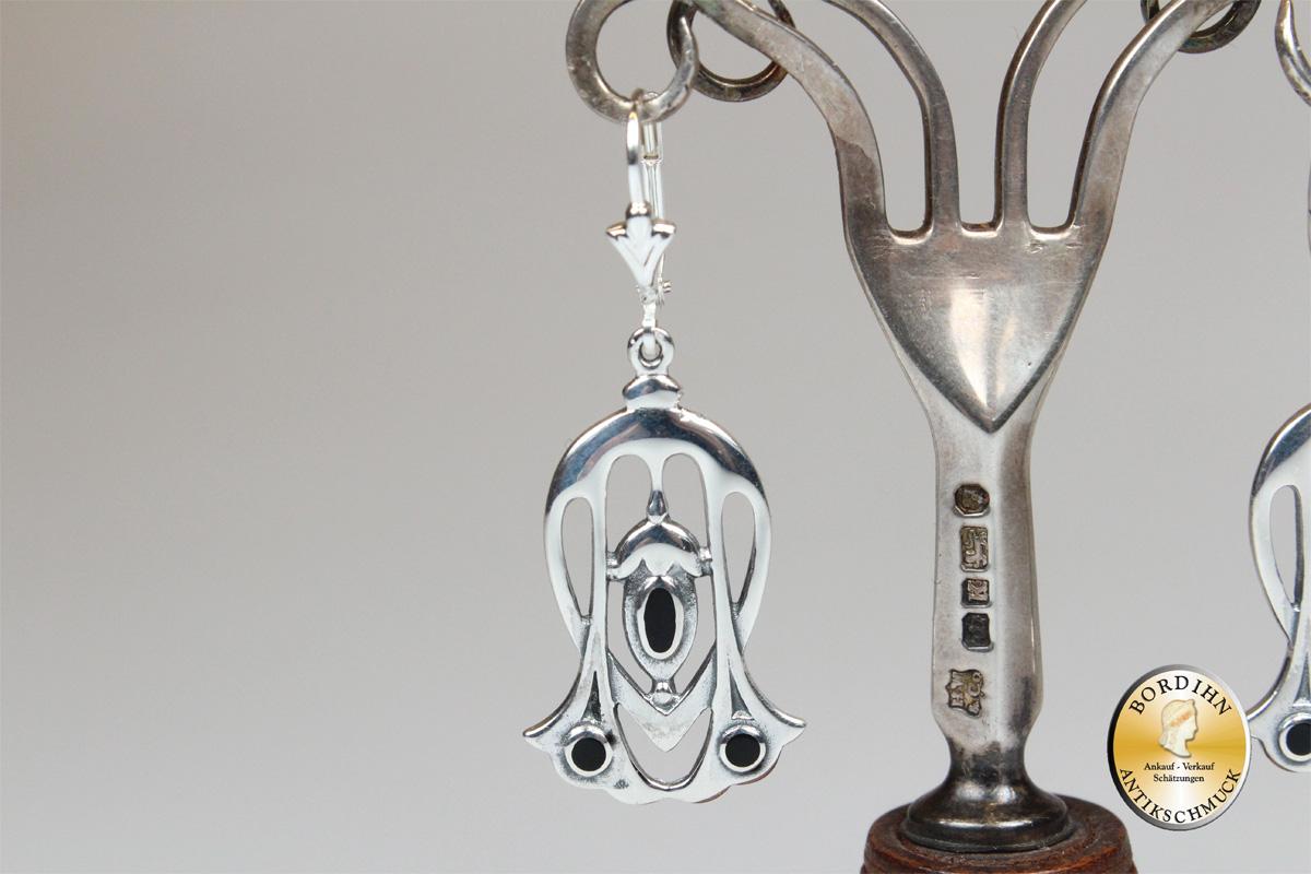 Ohrringe 925 Sterlingsilber Onyx Jugendstil Retro Ohrhänger Ohrschmuck