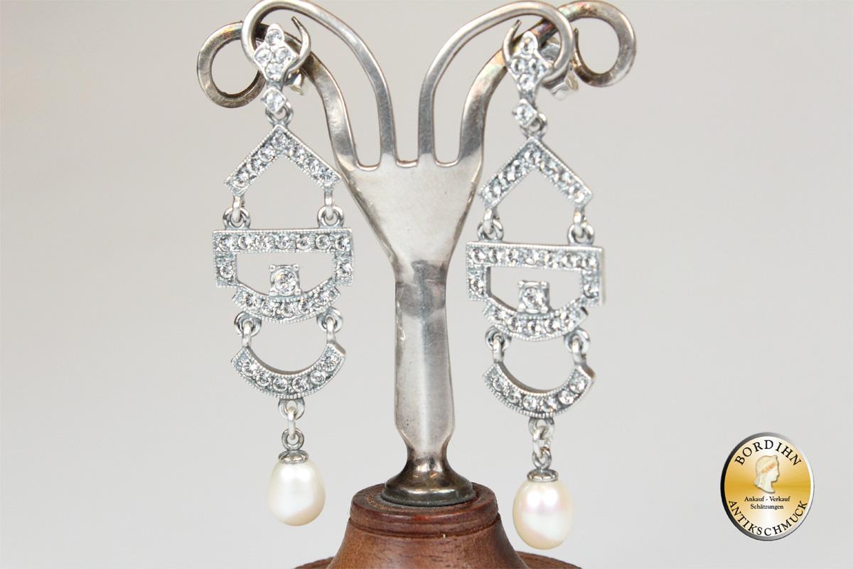 Ohrringe Sterlingsilber Perlchen Strass Schmuck Ohrhänger Damen Geschenk