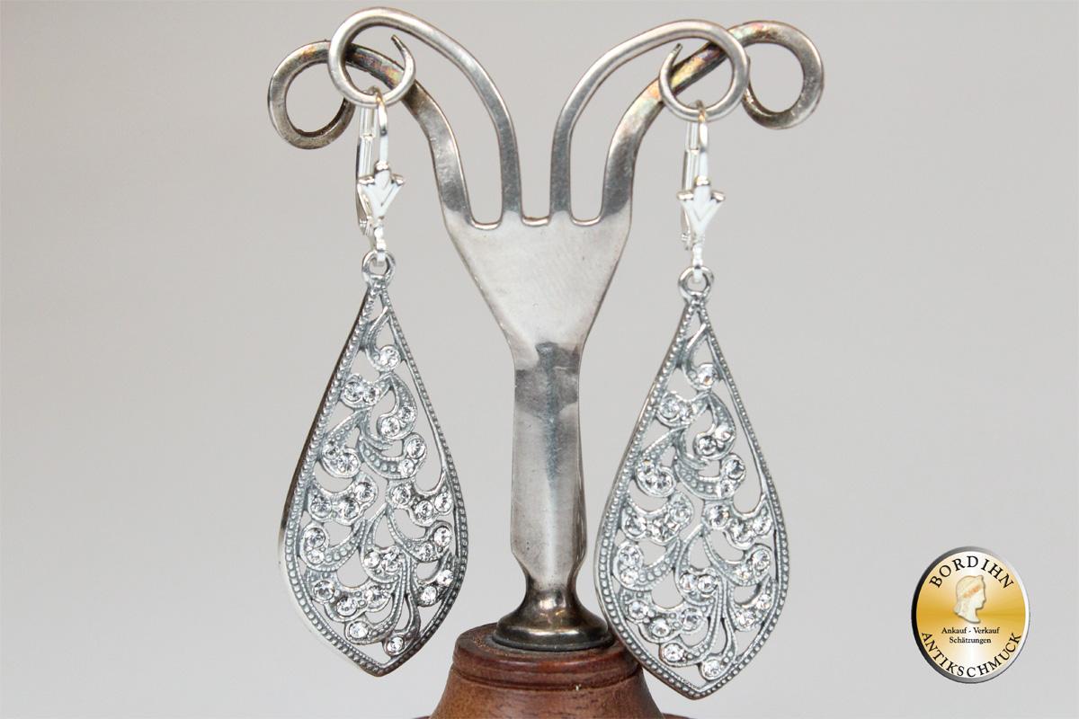 Ohrringe 925 Sterlingsilber Strass Keulen Ohrschmuck Ohrhänger Damen