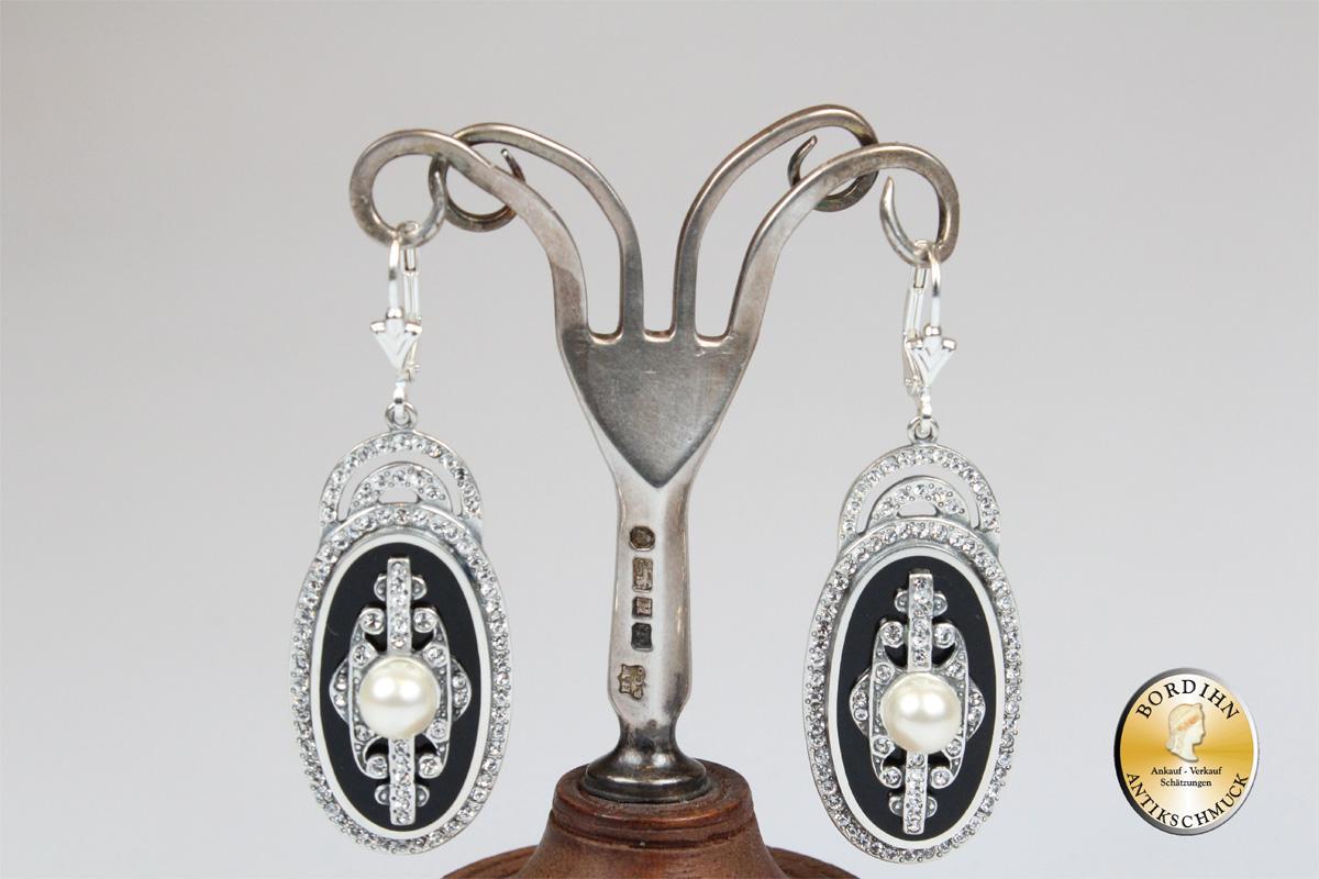 Ohrring Sterlingsilber Onyx Strass Perle oval Ohrhänger Schmuck Damen