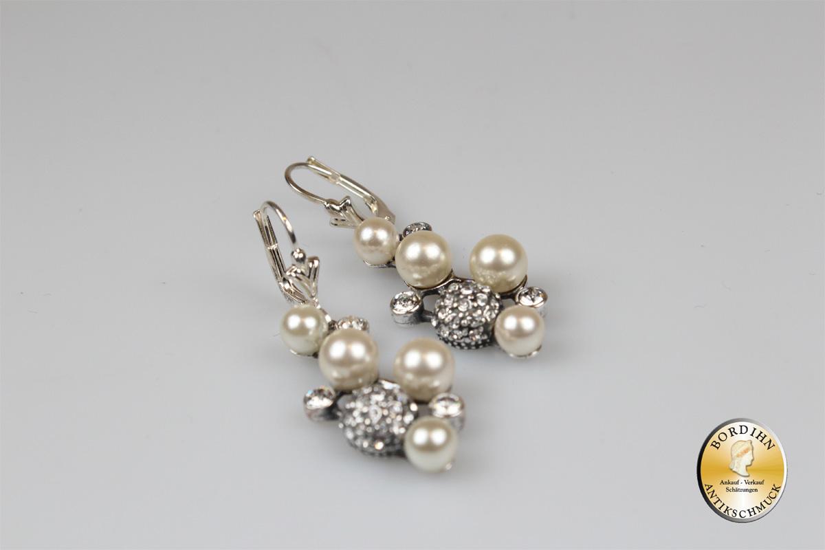 Ohrringe 925 Sterlingsilber Perlen Strass Ohrschmuck Ohrhänger Damen