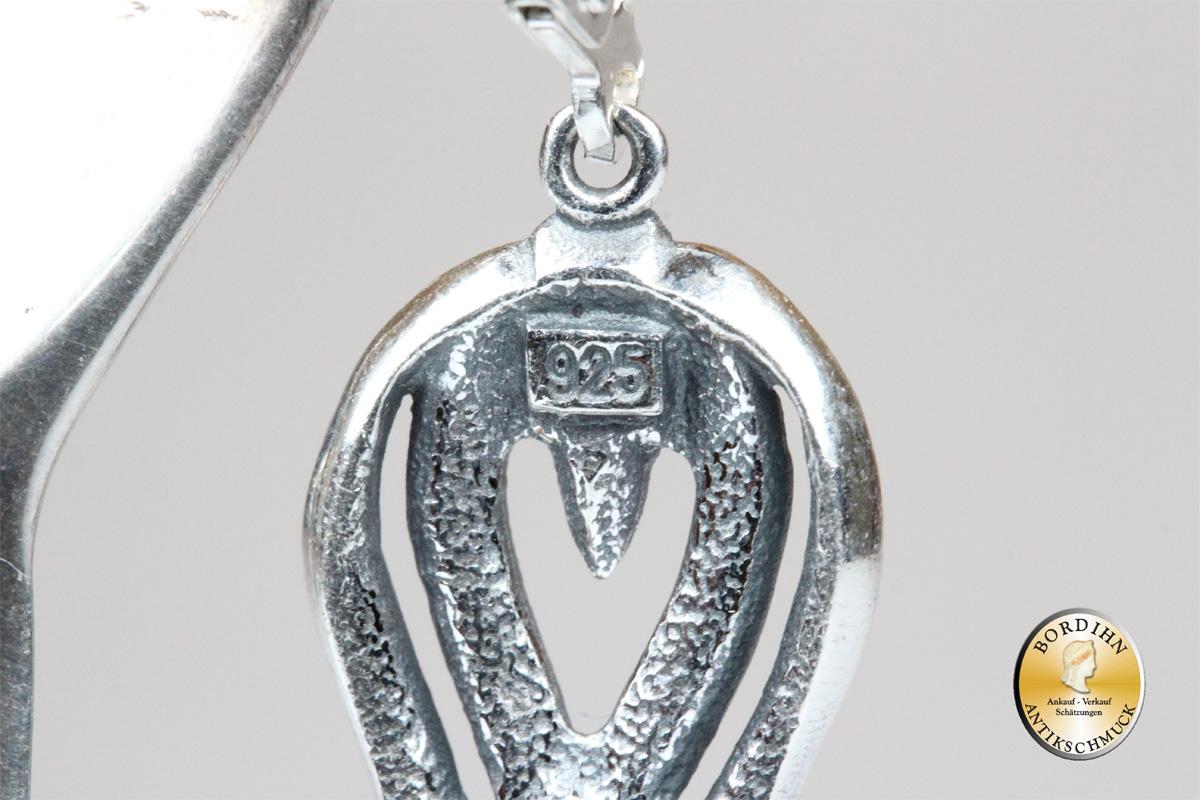 Ohrringe 925 Sterlingsilber Perlen Strass Harfe Ohrschmuck Ohrhänger