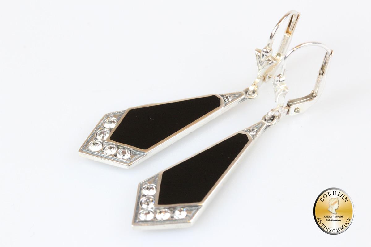Ohrringe 925 Sterlingsilber Onyx Strass im Artdeco Ohrschmuck Damen