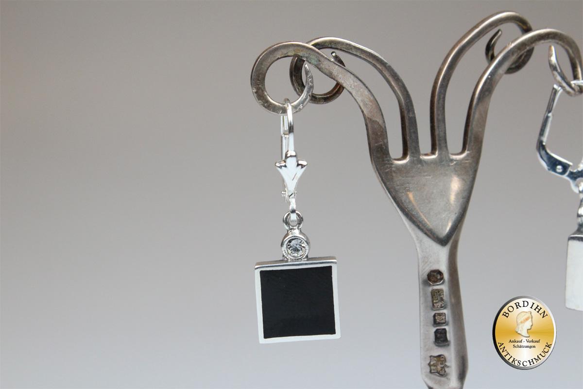Ohrringe Sterlingsilber Onyx Quadrat Ohrhänger Schmuck Damen Geschenk