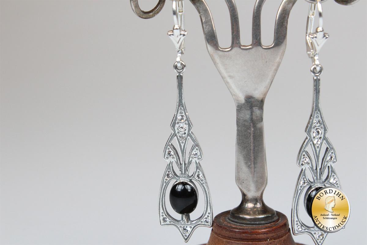 Ohrringe 925 Sterlingsilber Onyx Strass Artdeco Stil Ohrhänger Damen