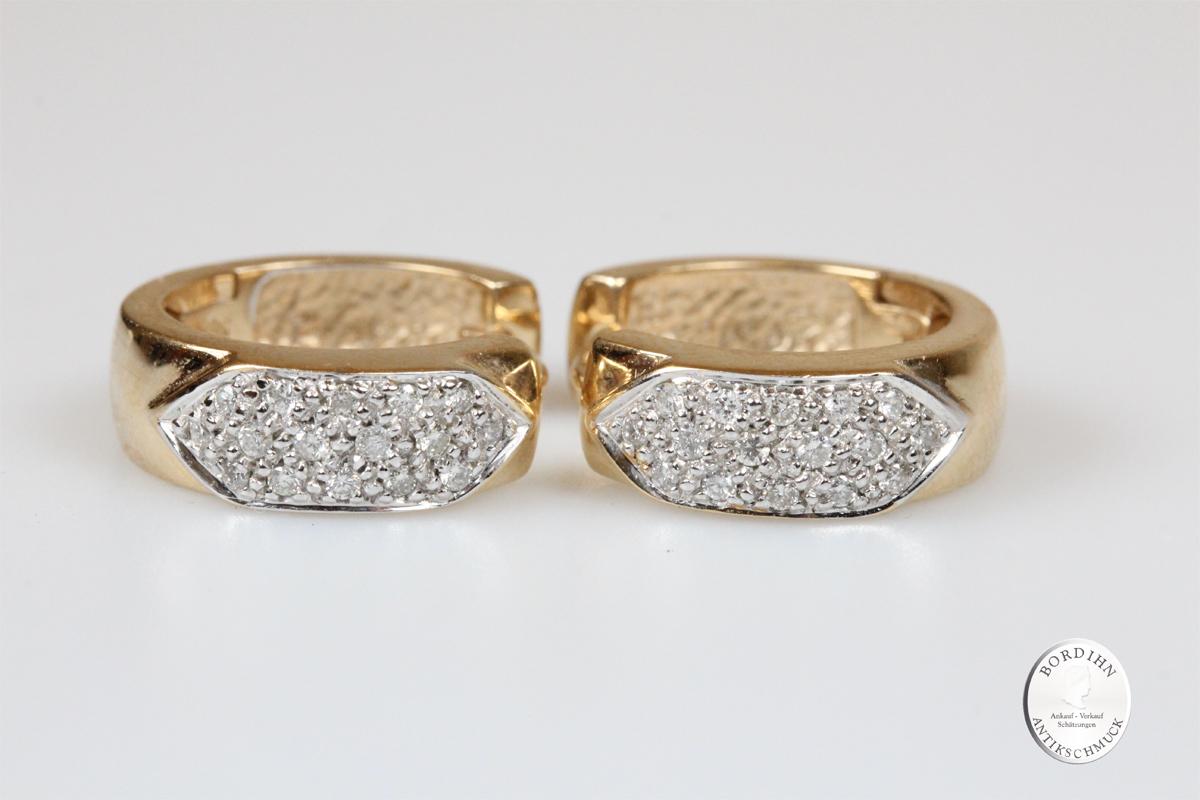 Ohrringe 14 Karat Gold Brillanten Ohrhänger Goldschmuck Brillant Damen