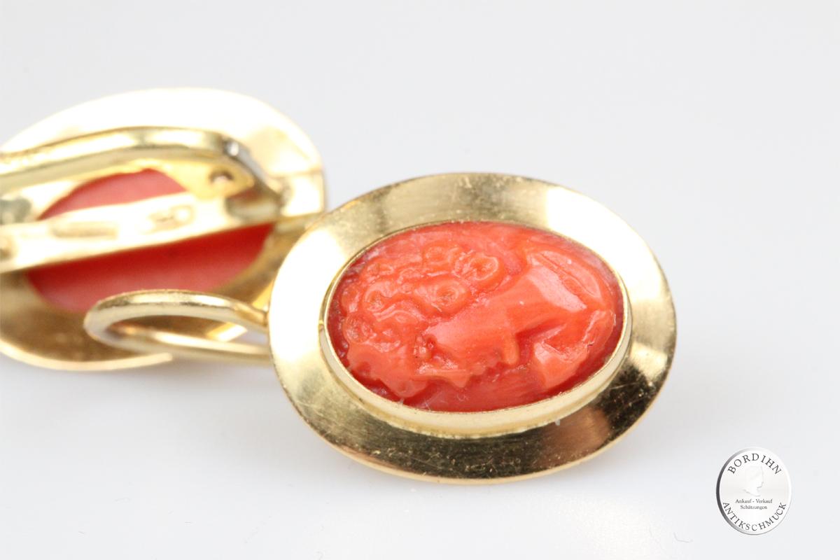Ohrringe 18 Karat Gold Koralle Frauenkopf Ohrhänger Ohrschmuck Damen