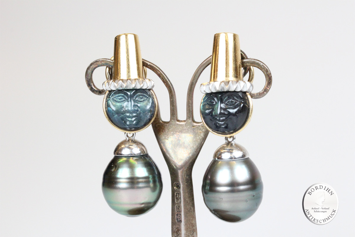 Ohrring 18 Karat Gold Tahiti Perlen Ohrhänger Ohrschmuck Damen Schmuck