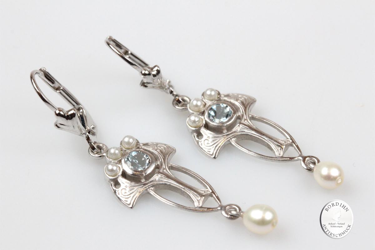 Ohrringe Sterlingsilber Blautopas Perlen Ohrhänger Ohrschmuck Damen