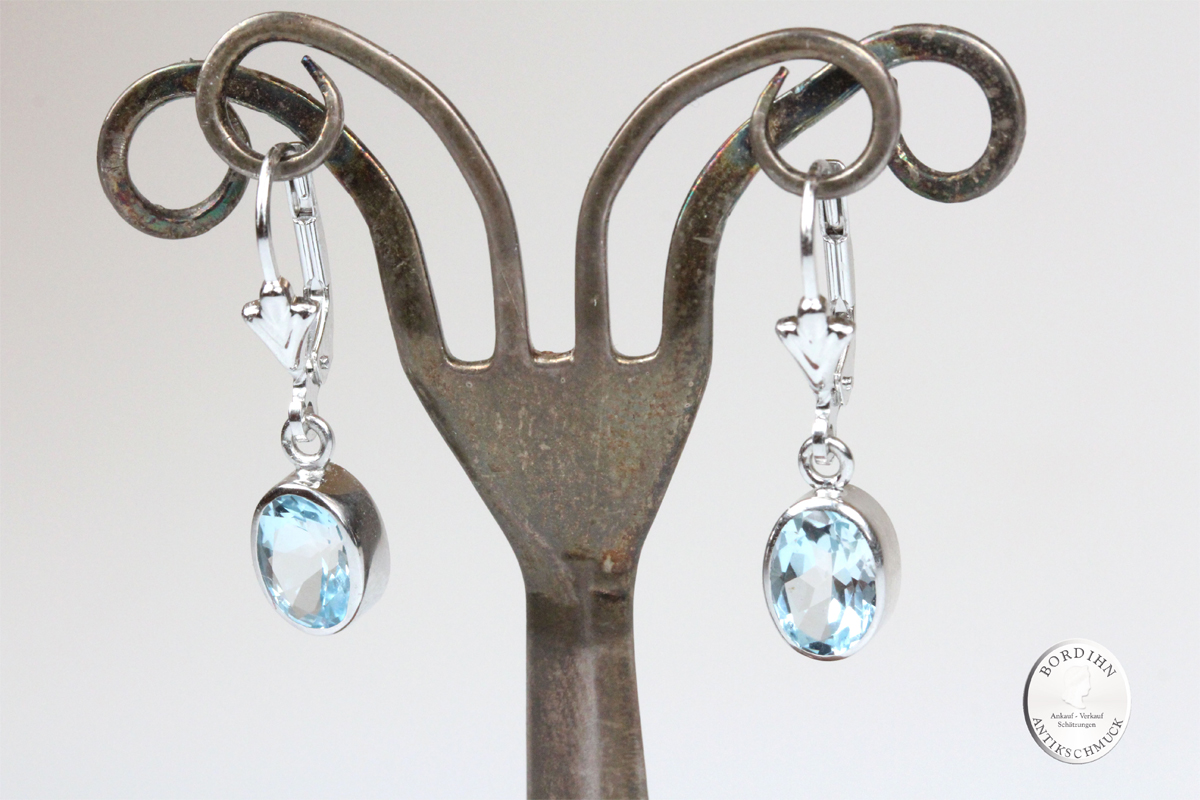 Ohrringe Sterlingsilber Blautopas Ohrhänger Ohrschmuck Damen Geschenk