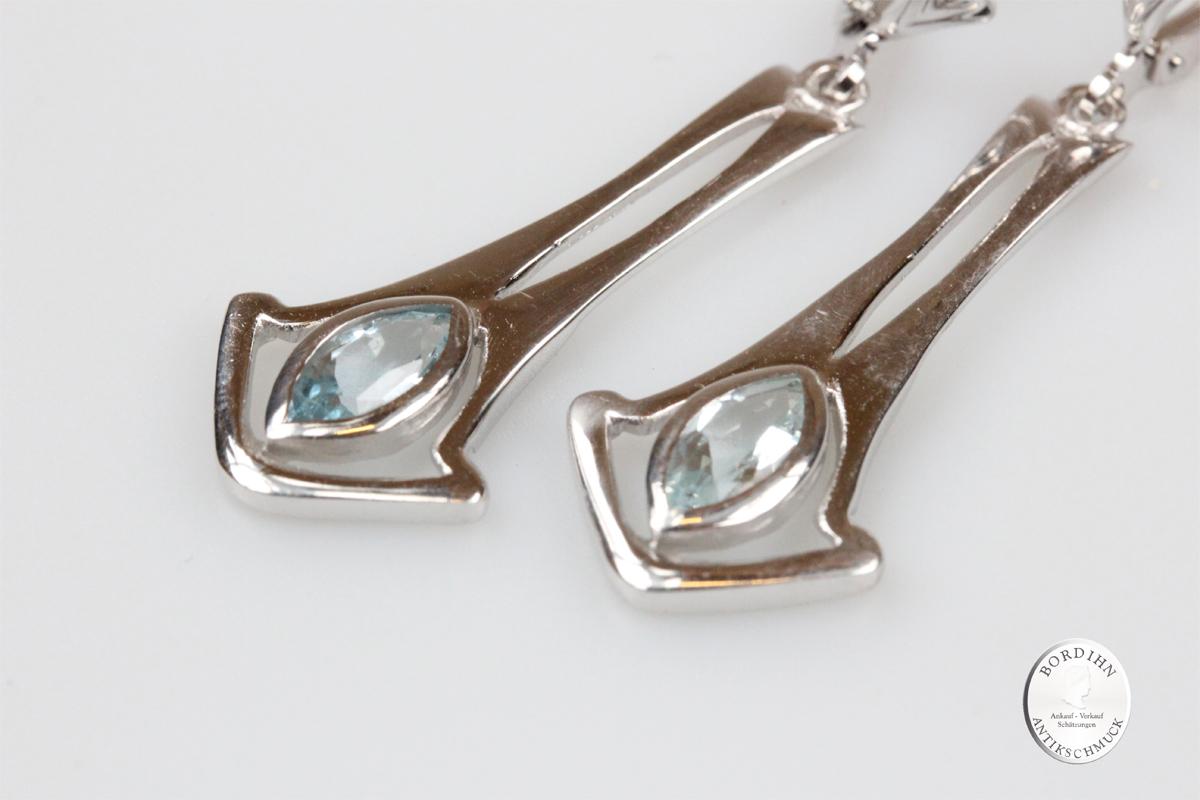 Ohrringe Sterlingsilber Aquamarin Ohrschmuck Ohrhänger Damen Geschenk
