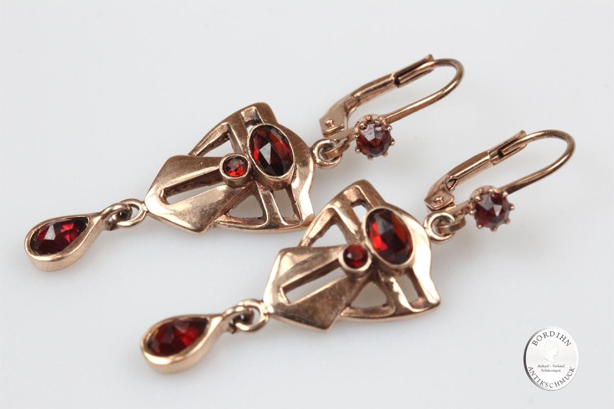 Ohrringe Sterlingsilber vergoldet Granat Ohrhänger Ohrschmuck Damen