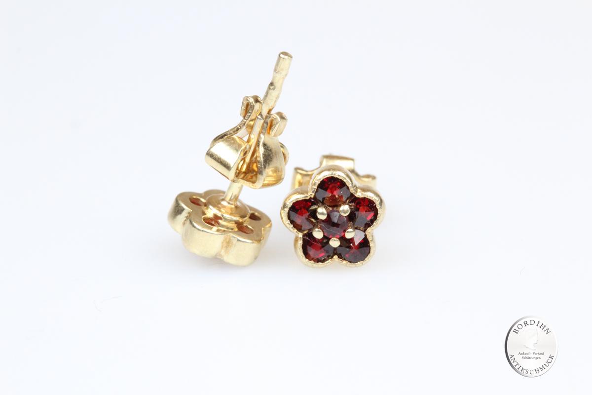 Ohrstecker 925 Silber vergoldet Granat Ohrringe Schmuck Tracht Damen