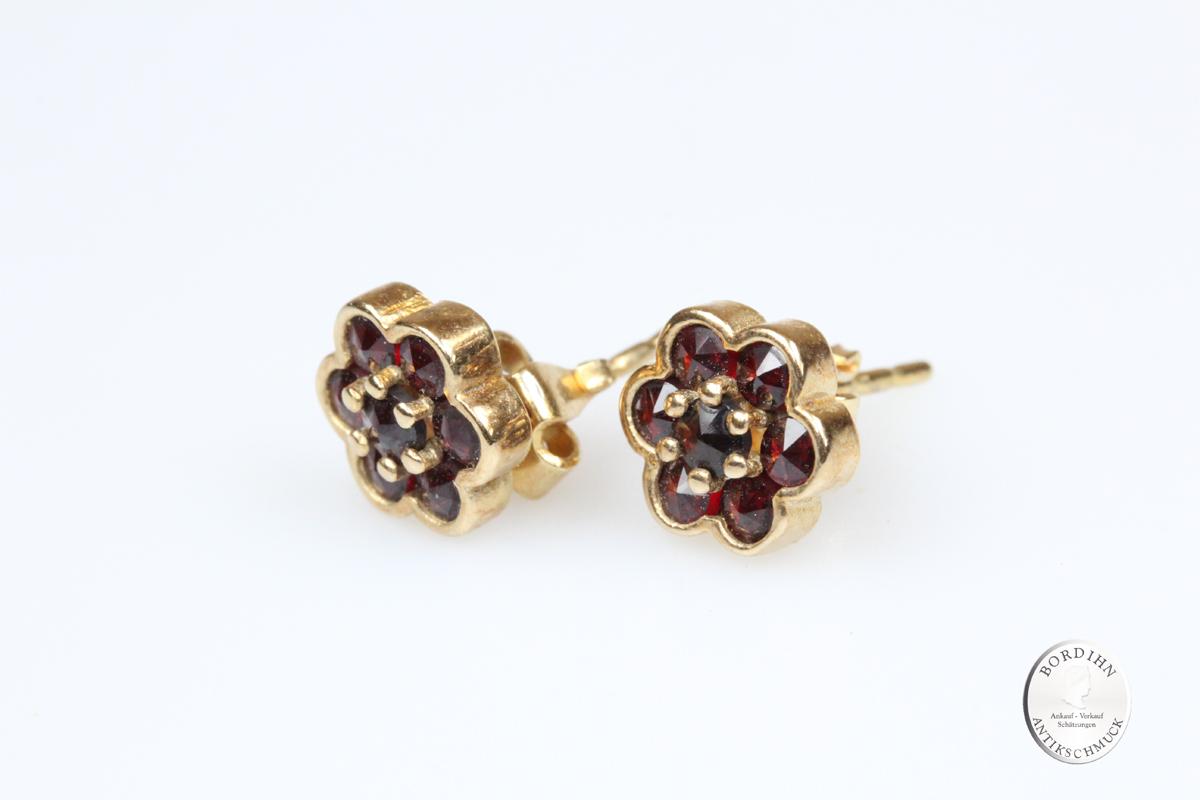 Ohrstecker 925 Silber vergoldet Granat Ohrschmuck Ohrring Tracht Damen