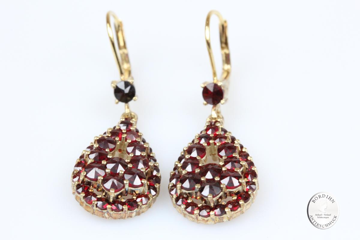 Ohrhänger 925 Silber vergoldet Granat Ohrschmuck Ohrring Tracht Damen