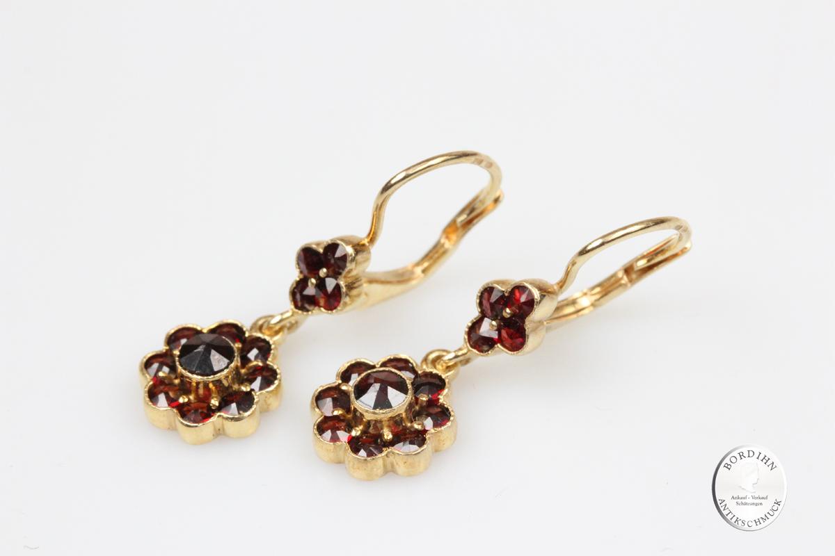 Ohrhänger 925 Silber vergoldet Granat Ohrring Schmuck Tracht Damen