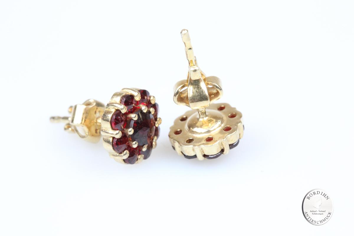 Ohrstecker 925 Silber vergoldet Granat Ohrring Damen Schmuck Tracht