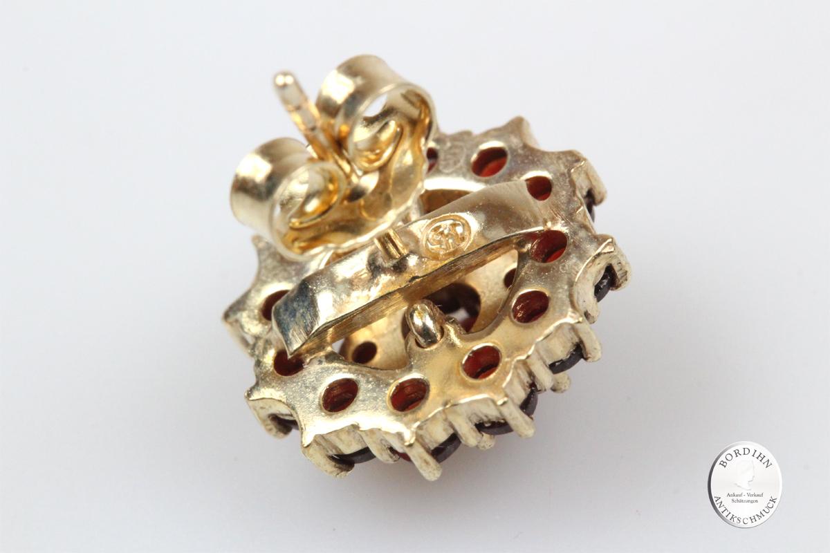 Ohrstecker 925 Silber vergoldet Granat Tracht Schmuck Damen Geschenk