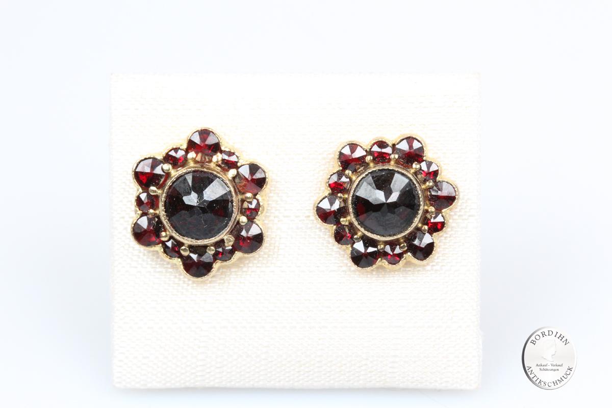 Ohrstecker 925 Silber vergoldet Granat Ohrring Damen Trachtenschmuck
